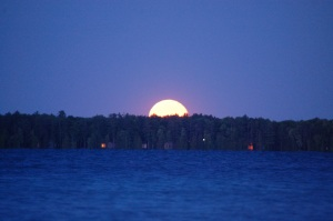 Full moon rising in June