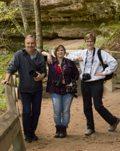 Photo of Jerry, Jo, and Jean at Miners Falls in Munising by Sandi Beaudoin